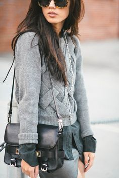pretaportre:  Jenny Ong [Neon Blush] in shades of gray wearing a 3.1 Phillip Lim sweater, Wasteland skirt, Equipment blouse, Proenza Schouler PS11, Karen Walker sunglasses, and a Vanessa Mooney necklace.