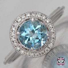 Art Deco Aquamarine Engagement Ring. BEAUTIFUL!!! <3 Maybe fancy up the band a bit… #1