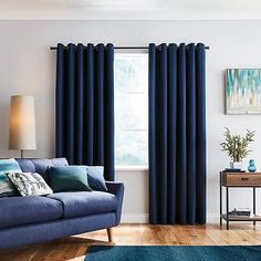 Finished in a deep navy colourway, our ready made blue curtains feature a blackout lining to effectively reduce unwanted external light and noise, complete with an eyelet header for ease of installation and available in a choice of sizes to fit. Navy Curtains Bedroom, Blue Curtains Living Room, Lounge Curtains, Navy Blue Curtains, Blackout Eyelet Curtains, Navy Bedrooms, Navy Living Rooms, Drapes And Blinds, Rugs In Living Room