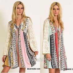 """Trendy Bell lace sleeves printed boho dress new 🚩runs big....‼️mustard/pinkcombo is available ‼️  ⭐️NWT retail. -crochet Lace long bell flare sleeves dress. -beautiful patch work floral print -boho chic mini hi lo low summer sun dress.  Measurements 👉(Armpit to armpit SMALL is 19.5"""": Medium is 21"""": large is 21.5"""");  👉(Total Length =front is 33-34"""". backside length is 36-37"""") 👉sleeves length 22.5-23"""" ⭐Material is 100% Rayon.lightweight but not sheer. BOUTIQUE Dresses Mini"""