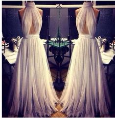 tulle prom dress,long prom dress,halter prom dress,unique prom dress,high neck prom dress, BD534