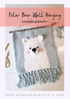 crochet toys Nursery wall art crochet pattern - Make your own nursery crochet wall hanging with this clear and detailed tutorial. This crochet pattern include lots of images and guides you step-by-step. Crochet Wall Art, Crochet Wall Hangings, Crochet Home Decor, Tapestry Crochet, Crochet Toys Patterns, Stuffed Toys Patterns, Crochet Dolls, Baby Room Wall Decor, Baby Room Diy