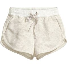H&M Sweatshirt shorts featuring polyvore, fashion, clothing, shorts, bottoms, light grey, micro shorts, hot short shorts, hot shorts, h&m and hot pants