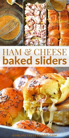 Step-by-step photos and a VIDEO show you how to make this EASY slider recipe. Just assemble the ham and cheese on a soft roll and brush with my sweet mustard glaze and then oven bake until hot and cheesy. Pull-apart sliders are the BEST party sandwiches and great for game day. We make these every weekend for football games. Leftovers reheat nicely too! #LTGrecipes #sliders #appetizer #party #potluck #easyrecipe #footballappetizer