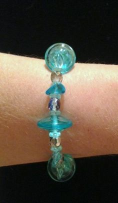 Turquoise Glass Bead Bracelet by Culbertscreations on Etsy, $15.00