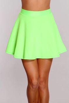 lime green skater skirt