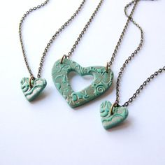 Mother and Two Daughters Matching Necklace Set in Teal and Copper with Antiqued Bronze Chains on Etsy, $28.00