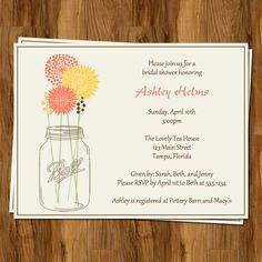 Wedding Shower Invitations Mason Jar Bridal by TheInviteLadyShop. 7 @ $10, custom color scheme. Envelope and ship for free. Holler.