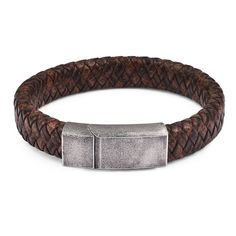 Worn and weathered to give it an antique effect, this braided leather bracelet puts forward a finish that's timelessly rugged and rustic. Galvanized to give the impression of aging, the stainless steel clasp carries out a vintage look inspired by rough riders who live life on the edge of glory.  FREE Shipping Worldwide.