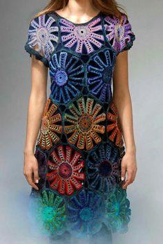 Beautiful and Amazing Crochet Dresses pattern Ideas Part 10 Form Crochet, Knit Crochet, Crochet Patterns, Crochet Clothes, Crochet Dresses, My T Shirt, Knitwear, Short Sleeve Dresses, Knitting