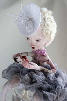 ooak Art doll GISELE  handmade doll sculpted paper by LadyDOLLS, $289.20