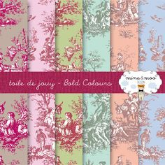 Toile de Jouy French pattern design wallpaper by MinaandMooDesign