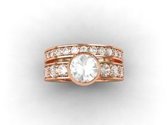 Rose Gold wedding ring set with White Sapphire solitaire engagement ring and White sapphire half eternity wedding band by TorkkeliJewellery, $3498.00
