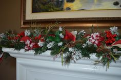 Christmas Garland Mantle Garland Fireplace by TheBloomingWreath Fireplace Garland, Fireplace Mantle, Christmas Wreaths, Christmas Decorations, Holiday Decor, Burlap Ribbon, Beautiful Christmas, Pine Cones, Grape Vines