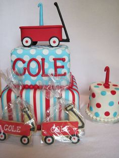 1st boy birthday wagon cake and smash cake.  See more first boy birthday and party ideas at one-stop-party-ideas.com