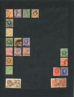 A page from Freddie Mercury's childhood stamp album. The album includes many pages like this where the stamps have been arranged into shapes or patterns.