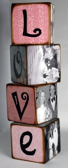 Cherished photographs find a new way to become decorative in these stacked blocks.