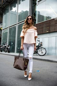 Off-The-Shoulder Blush. Topshop OTS Top. Nasty Gal Jeans. Zara Heels. Free People Sunglasses. Louis Vuitton 'Neverfull MM' Bag.
