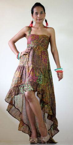 Short Front Long Back  Peacock Maxi Summer Dress  : Let's Party Collection. $57.00, via Etsy.