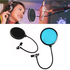 Gooseneck Shied Pop Filter Double Layer Studio Microphone Mic Wind Screen Mask
