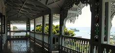 View of the Indian Ocean from a balcony in Stone Town, Zanzibar Zanzibar Beaches, Victorian Porch, Outdoor Patio Designs, Stone Town, Home Porch, Tanzania, Beautiful Beaches, Old Houses, My Dream Home