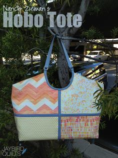Nancy Zieman's Hobo Tote Blog Tour | Jaybird Quilts Jaybird Quilts, Sewing With Nancy, Tote Handbags, Tote Bags, Nancy Zieman, Jay Bird, Fabric Bags, Bag Tutorials, Sewing Tutorials