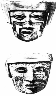 Глиняные маски для курильниц.Теотиукан