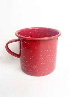 Red Speckled Enamel Mug by OnyahDesigns on Etsy