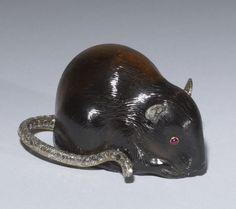 Peter Carl Fabergé (1846-1920) ~ Mouse, 1908-1914, smoky quartz, diamonds, gold, rubies  |||  House of Fabergé (Russian, est. 1842) (Manufacturer)