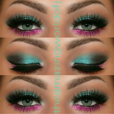 Dramatic eye makeup with pink and teal eye shadow.