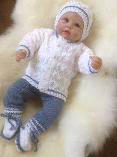 Diy Crafts - Baby Sweater and Pants Set to fit month Baby or 22 inch Reborn Baby Doll in Blue and White Yarn Ready to Ship Now Baby Cardigan Knitting Pattern Free, Baby Knitting Patterns, Diy Crafts Knitting, Sweater Set, Baby Sweaters, Baby Month By Month, Baby Dolls, Doll Clothes, Ship