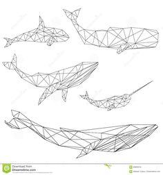 Geometric Whale Set Stock Vector - Image: 69905316