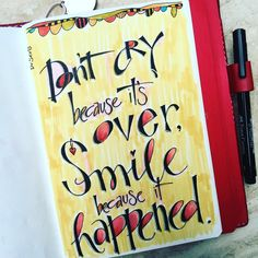 Last night's doodle almost didn't fit without pre-planning, but I'm smiling because it happened. Distress Markers, Girlfriend Quotes, Smile Because, Hand Lettering, Doodles, How To Plan, Shit Happens, Sayings, Words