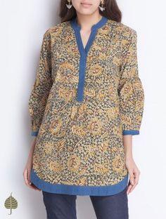Indigo-Green Natural Dye Kalamkari Printed Pleated Neck Handloom Cotton Top