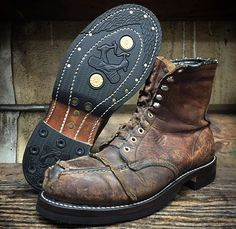 Resoled Red Wing Moc steel toes.