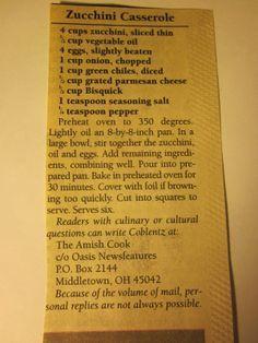 Grandma's Vintage Recipes: Amish Zucchini Casserole