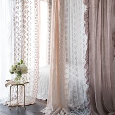 Sheer and quietly exquisite, our garment dyed Olivia Collection adds soft, feminine charm to your space. White Lace Curtains, Drapes Curtains, Lace Bedding, Cozy Bed, Bed Throws, Home Decor Kitchen, Home Decor Accessories, New Homes, Shabby