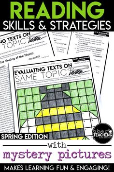 Students will love practicing important reading skills and strategies with these spring-themed color-by-code mystery picture grids and practice sheets! You'll love the ease of planning! Just PRINT & GO! Perfect for sub plans, too! Need a day off or a sick day at home? This is a great resource to leave for a substitute!  Text Structure, Theme, Point of View, Author's Purpose, First and Second Hand Accounts