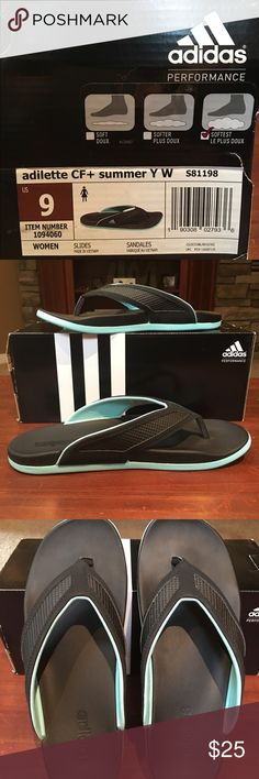 Adidas Sport Athletic Thongs  9B NIB NIB Adidas athletic sport sandals / thongs size 9B in black and turquoise. These are extra cushioned and super comfy to wear outside or around the house. Make me an offer! Shoes Athletic Shoes