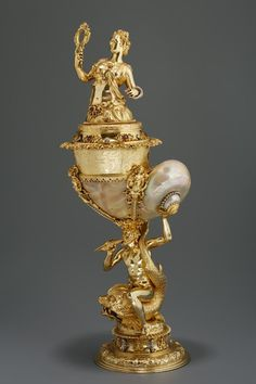 Scott Miller  saved to  The Gold Man and the Sea Decorative Goblet representing Prudentia, Nuremberg goldsmith, around 1603-1609. Museum of Applied Arts, Budapest, collection number E 60.15.1-2.