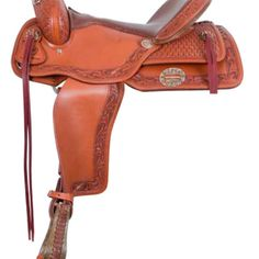 Alamo Caramel Toast Border Tooled Flex Tree Trail Saddle 1
