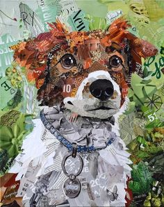 Commissioned Dog Collage made from magazines by artist Deborah Shapiro arte Dog, Cat, and Horse Commissions Collage Kunst, Mode Collage, Paper Collage Art, Collage Art Mixed Media, Collage Artwork, Collage Artists, Paper Art, Art Collages, Wall Collage