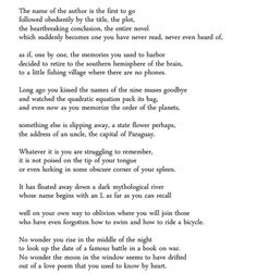 """Forgetfulness"" by Billy Collins. More than a little wrenching for us older folks"