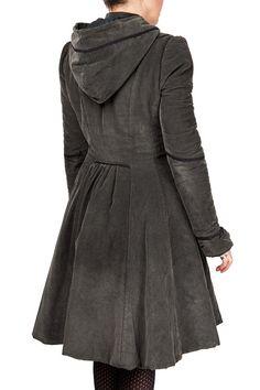 Manteau à capuche évasé en velours côtelé avec détails en ruban de dentelle, poches sur les côtés, manches froncées