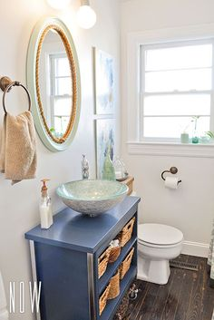 DIY budget bathroom renovation with a metal cabinet converted into a vanity with a glass vessel sink Diy Bathroom, Diy Remodel, Budget Bathroom Remodel, Cheap Bathrooms, Budget Bathroom, Diy Bathroom Remodel, Painted Vanity Bathroom, Cheap Bathroom Remodel, Bathroom Renovation