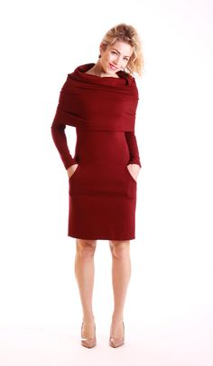 Cowl neck dress with pockets long sleeve dress by ADORIQUE on Etsy