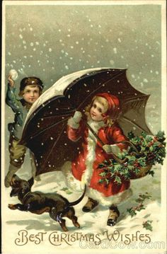 Children with Dog and Umbrella Best Christmas Wishes