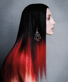Ombre with red and black