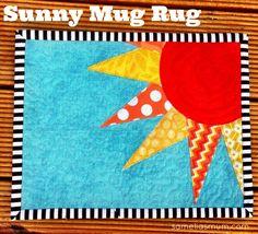 Sunny Scrappy Mug Rug - Free Motion Machine Raw Edge Applique : sameliasmum.com