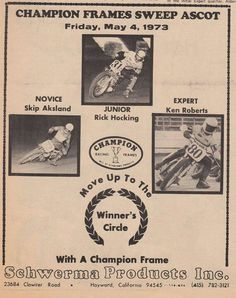 Old program, May 4, 1973 Ascot Speedway - Kenny Roberts, Rick Hocking, Skip Aksland